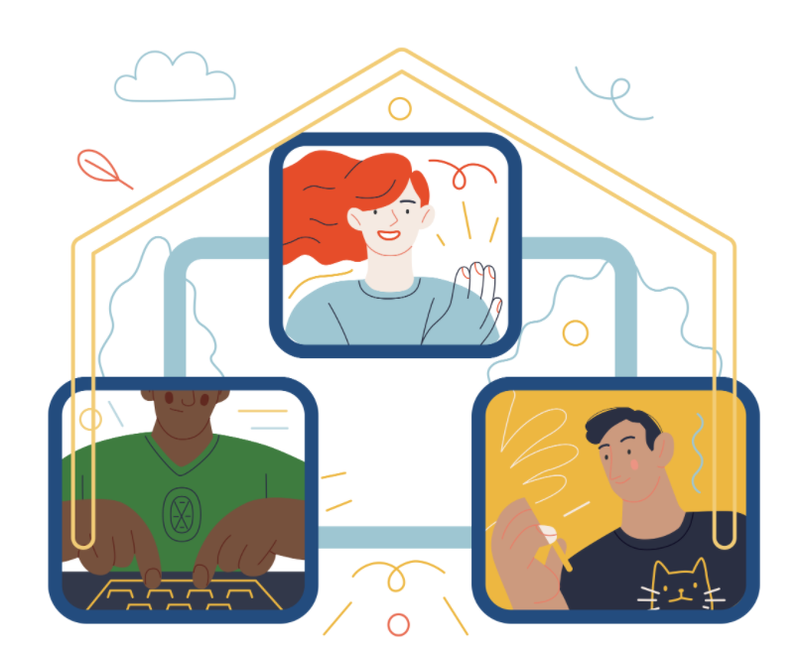Graphic design of people connected inside a home