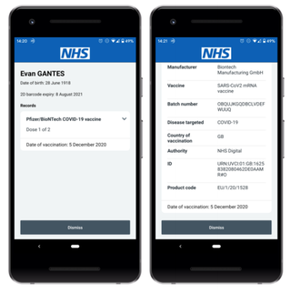 Phone screen showing vaccination details
